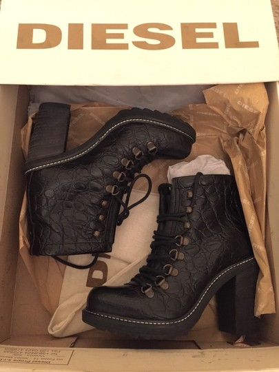 Diesel Leather Black Boots