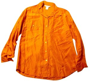 Gallagher % Button Pockets Top dark orange silk