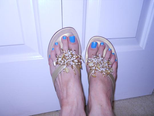 Talbots Leather Faux Pearl gold Sandals