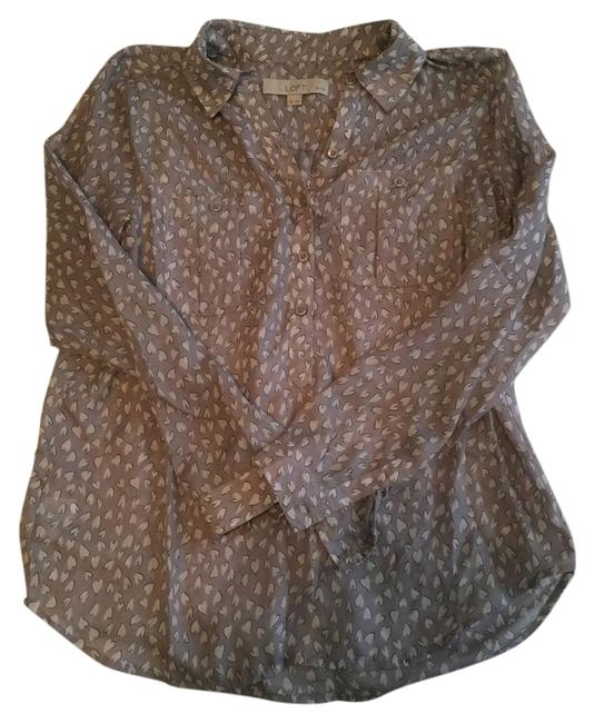 Ann Taylor LOFT Summer Fall Heart Print Sexy Lightweight Top Grey