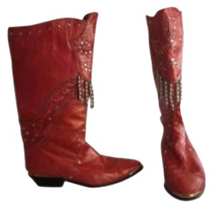 Other Red Bronze With Gold And Silver Beaded Details Red Leather Boots