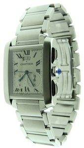 Cartier Cartier Tank Francaise Chronograph Date Stainless Steel Dress Watch.