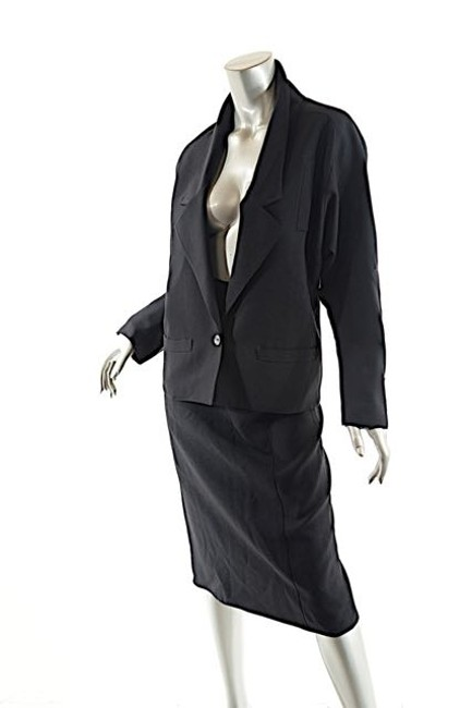 Chloé Vintage black Wool Skirt Suit w/Relaxed Jacket + Str. Skirt - 38+40/US4+6