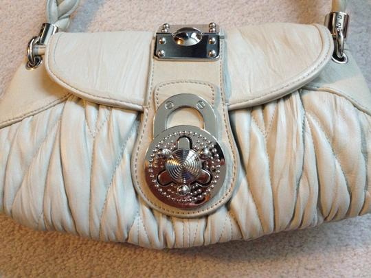 Steven by Steve Madden Leather Silver-tone Grey Taupe Braided Pleated Shoulder Bag