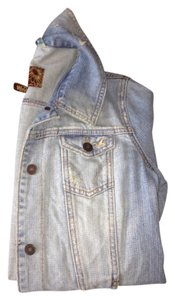 Hollister Jean Large Ripped / Faded Denim Womens Jean Jacket