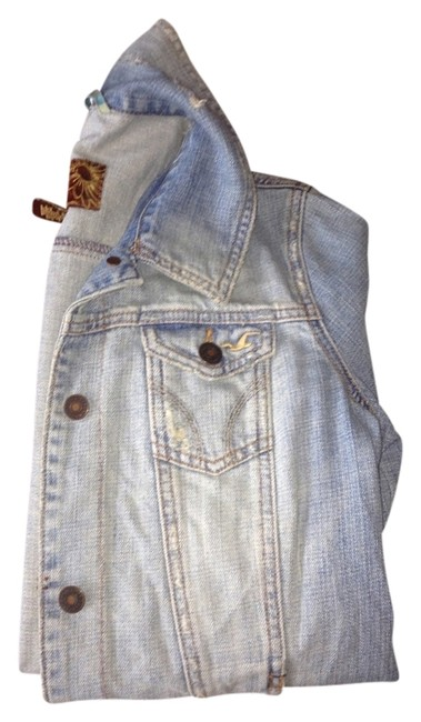 Hollister Jean Large Vintage Ripped / Faded Denim Womens Jean Jacket
