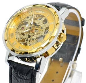 MCE Gold Fashion Skeleton High Quality Movement Unique Hand Wound Watch-FREE SHIPPING