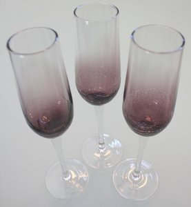 Purple Crackle Champagne Flutes