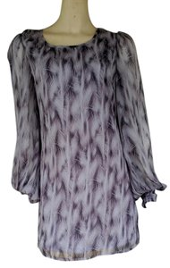 Rise Elite short dress Gray Mini Chiffon Feather Print on Tradesy