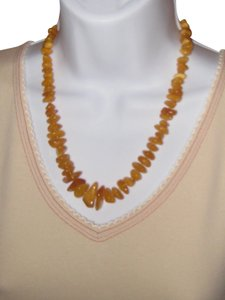 Genuine Baltic Amber Necklace . One string polished amber necklace .