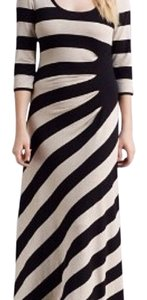 Black/Bone Maxi Dress by Calvin Klein Striped Maxi Long 3/4 Sleeves