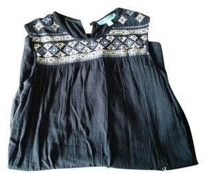 Francesca's short dress Navy Blue / Embroidered Flowy White on Tradesy