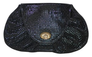 Goldenbleau Woven Patent Leather Vintage Black Clutch