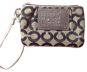 Coach Poppy Signature Wristlet in Black, Gray, Silver