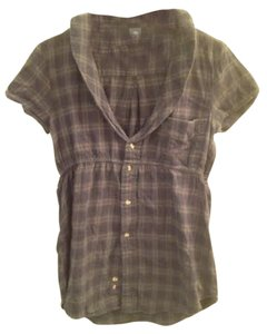 H&R Lapel Punk Vintage Top Green plaid