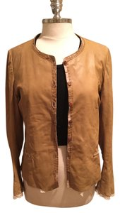 Nigel Preston & Knight Summer Spring Mario Barney Saks Anthropologie Romantic High End Dainty Girly Quality Rare Tan Leather Jacket