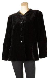 Armani Collezioni Velvet Velvet Cropped Boxy Made In Italy Black Blazer