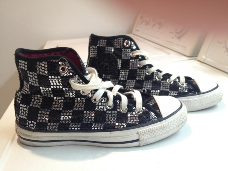 high quality buy sale cheap for sale Converse Black & Silver Sequin Check High Top Sneakers Size US 6 53% off  retail
