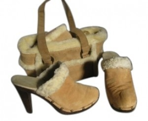 Colin Stuart Buff suede leather with fleece trim & matching han Mules