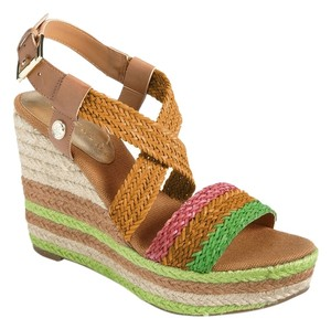 Ivanka Trump Platform Strappy Synthetic Leather Adjustable Strap Jute Sandal Tally Multi Colored Wedges