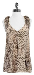 Rebecca Taylor Animal Print Silk Top Taupe