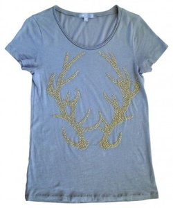 J.Crew T Shirt soft gray with light gold beads