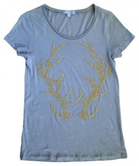Item - Soft Gray with Light Gold Beads Beaded Antler Tee Shirt Size 4 (S)