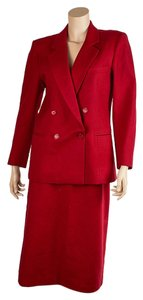 Burberry Burberrys' Vintage Red Wool Skirt Suit, Size 42 (41883)