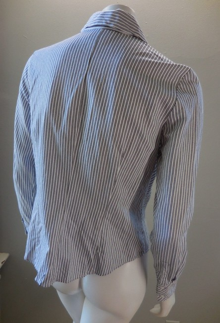 Ann Taylor Fitted Career Cotton Light Button Down Shirt White Black