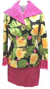 Dana Deatherage DANA DEATHERAGE 3-PC. MULTICOLORED PRINTED SILK SKIRT SUIT S