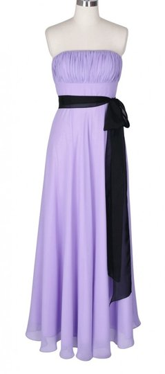 Purple Chiffon Strapless Long Pleated Bust W/ Sash Formal Bridesmaid/Mob Dress Size 0 (XS)