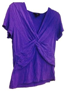 Cable & Gauge Soft Short Cotton Knot Top Purple