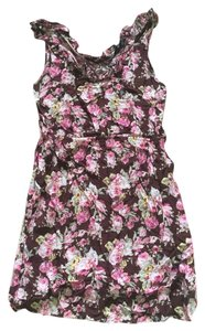 short dress Brown Floral on Tradesy