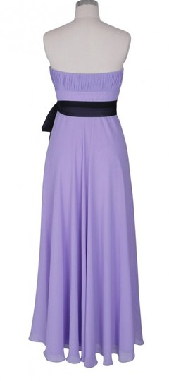Purple Chiffon Strapless Long Pleated Bust W/ Sash Size:small Formal Bridesmaid/Mob Dress Size 6 (S)
