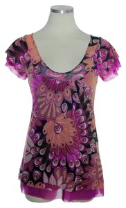 Sweet Pea by Stacy Frati Peacock Print Scoopneck Short Top Purple Multi