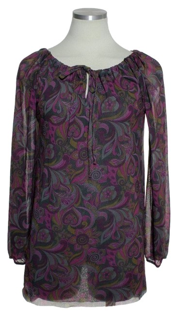 Sweet Pea by Stacy Frati Off-shoulder Floral Long Sleeve Top Purple