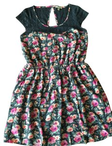 American Eagle Outfitters short dress Navy Blue / Floral Print Knee Length on Tradesy