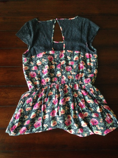 American Eagle Outfitters short dress Navy Blue / Floral Print Knee Length Womens on Tradesy