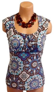 Ann Taylor Top Medallion Floral Blue