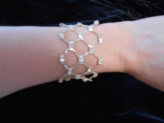 Other Silver Beaded Bracelet with Faux Diamonds