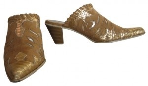 Up Close Buff suede look with gold trim accents Mules