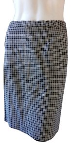 Banana Republic Striped Checkered Lined Career Straight Stretchy Skirt Black White