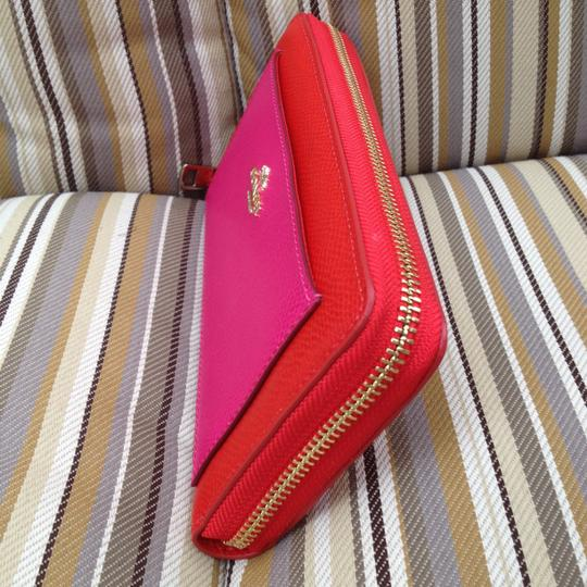Coach COACH LEATHER ACCORDION ZIP WALLET CARDINAL PINK Leather New for 2015