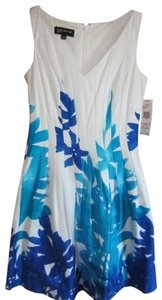 Jones New York short dress white, royal blue, and turquoise on Tradesy