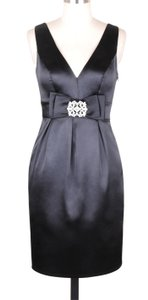 Black V-cut W/ Removable Rhinestone Brooch Satin Dress