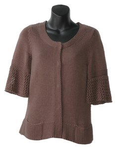 Elie Tahari Snap Button Chunky Knit Cardigan