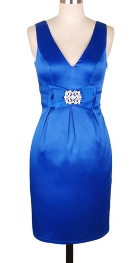 Blue Satin V-cut W/ Removable Rhinestone Brooch Formal Bridesmaid/Mob Dress Size 4 (S)