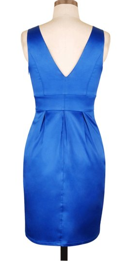 Blue Satin V-cut W/ Removable Rhinestone Brooch Formal Bridesmaid/Mob Dress Size 8 (M)