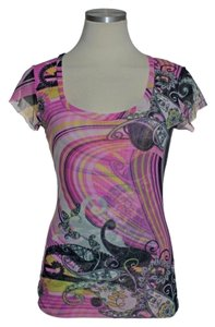 Sweet Pea by Stacy Frati Scoopneck Knit Short Top pink Multi