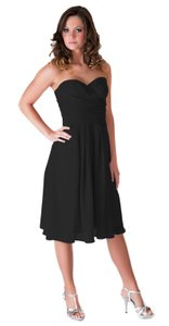 Black Strapless Pleated Waist Slimming Chiffon Dress